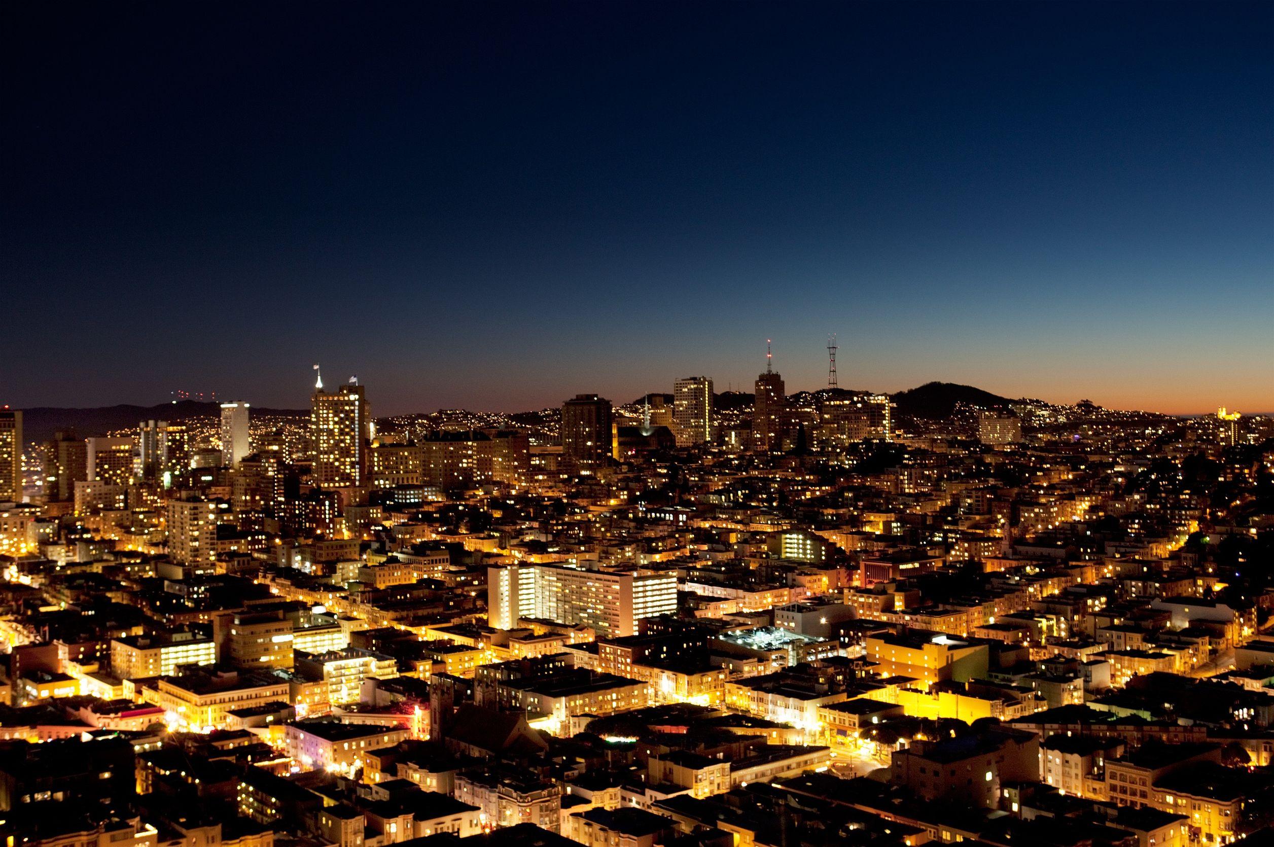 A photo of the San Jose skyline at dusk