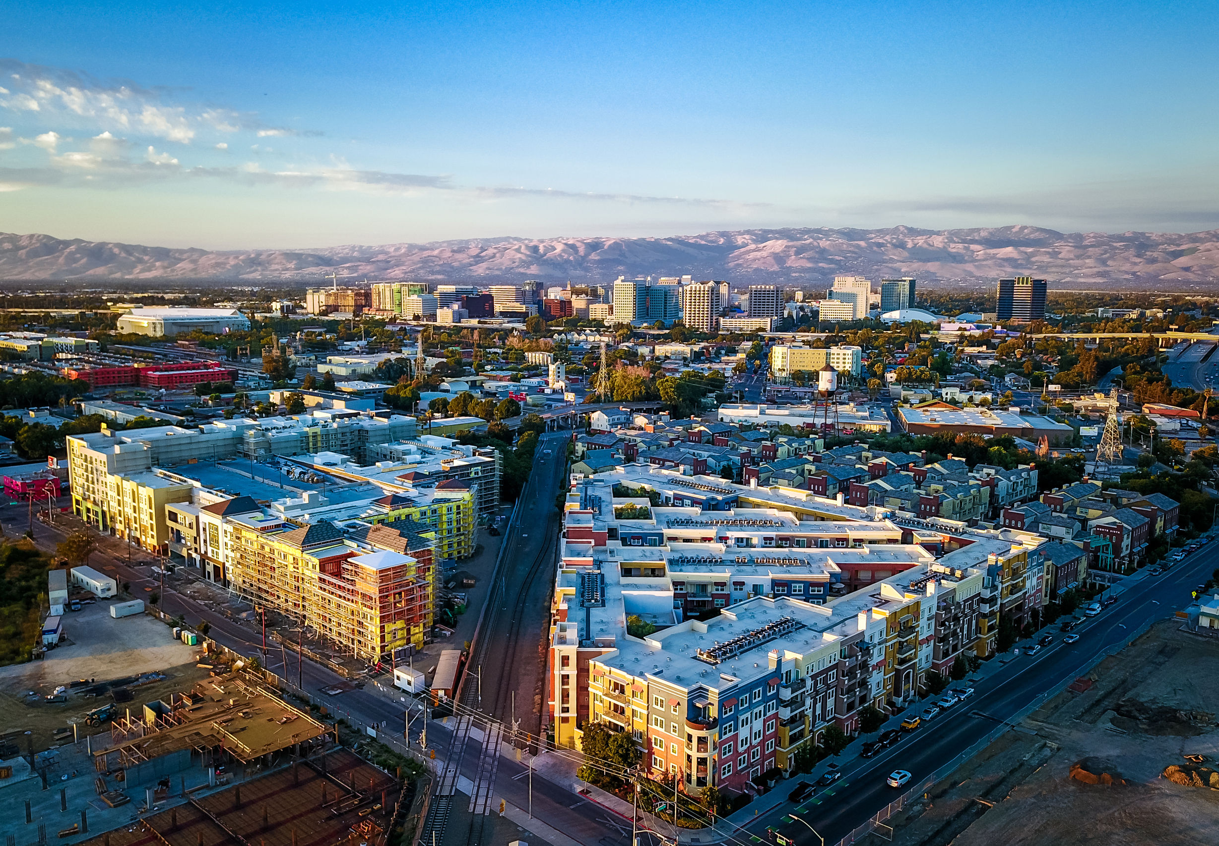 This is an overhead shot of downtown San Jose at sunset
